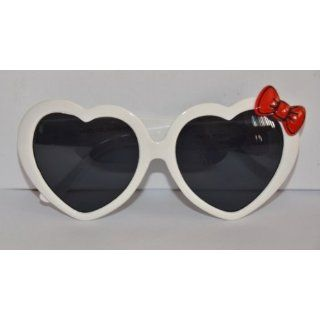 Heart shaped sunglasses white with red hello kitty bow