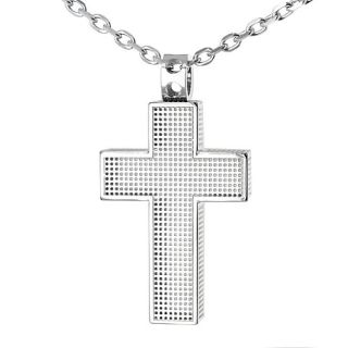 Stainless Steel Mesh Patterned Cross Necklace