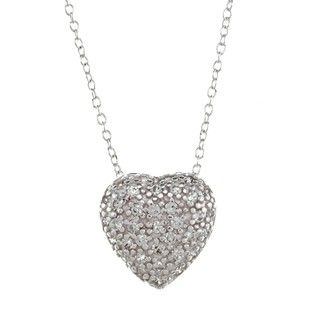 Sunstone Sterling Silver Pave Cubic Zirconia Puffy Heart Necklace