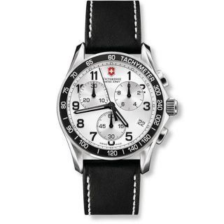 Swiss Army Mens Chrono Classic Black Leather Strap Watch