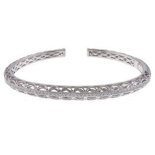 Tacori IV Sterling Silver Cubic Zirconia Hinged Cuff Bracelet
