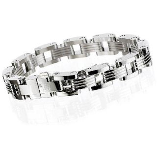 Simmons Jewelry Co Stainless Steel Mens Miami Bracelet