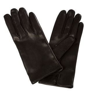 Prada Womens Embroidered Black Lambskin Leather Gloves