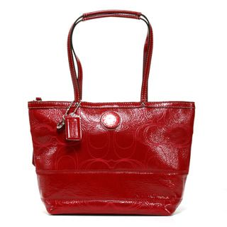 Coach Red Patent Leather Signature Stitched Tote Bag