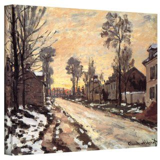Claude Monet Snowy Country Road 36x48 Gallery Wrapped Canvas