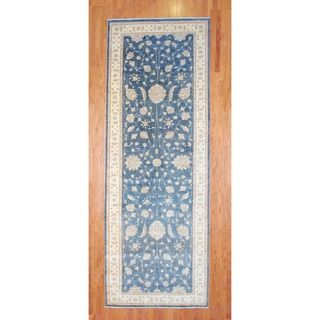 Afghan Hand knotted Blue/ Ivory Vegetable Dye Wool Runner (52 x 144