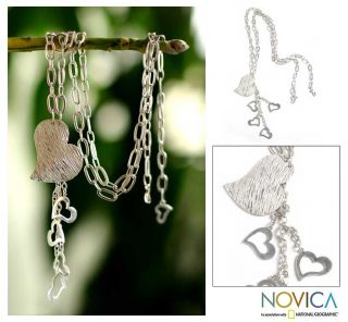 Sterling Silver Chain Of Hearts Long Heart Necklace (Peru