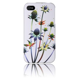 Luxmo Apple iPhone 4/ 4S White with Spiky Weed Rubber Case