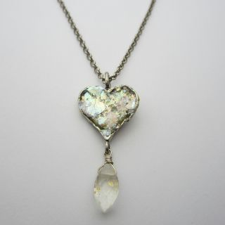 Sterling Silver Roman Glass Heart Necklace (Israel)