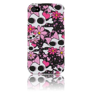 Luxmo iPhone 4/ 4S White with Pink Skull Rubber Case