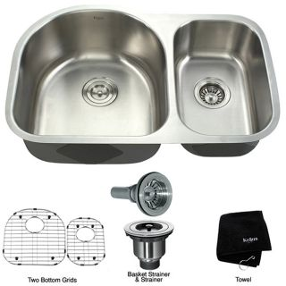 Kraus Stainless Steel Satin Undermount 2 bowl Sink
