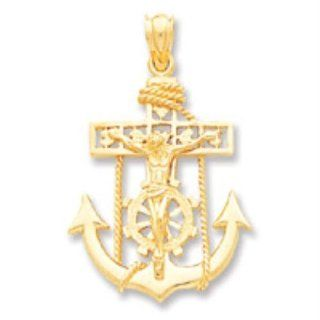 Solid 14k Gold Mariners Cross Pendant Real Goldia Designer