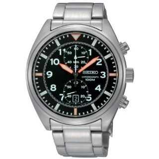 Seiko Mens SNN235 Chronograph Black Dial Stainless Steel Watch
