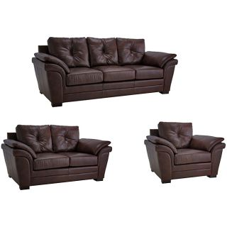 Brown Pillow Top Arm Leather Sofa, Loveseat and Chair