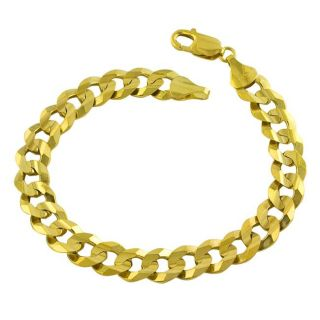 14k Yellow Gold Solid Curb Link Bracelet (9 mm)