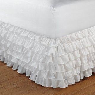 White King size Multi ruffle 15 inch Drop Bedskirt