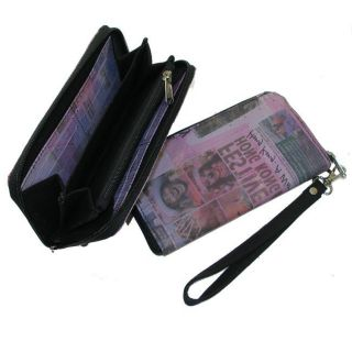 Recycled Plastic Purple Newsprint Vickey Wristlet Wallet (India