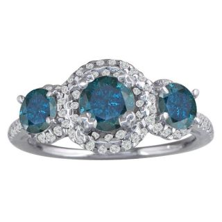 14k White Gold 2ct TDW Blue and White Diamond 3 stone Ring (G H, I1 I2