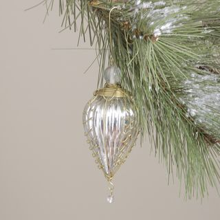 Glass and Brass Trim Silver Kugel Christmas Ornament (India