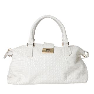 Jimmy Choo Romeo White Leather Travel Bowler Bag