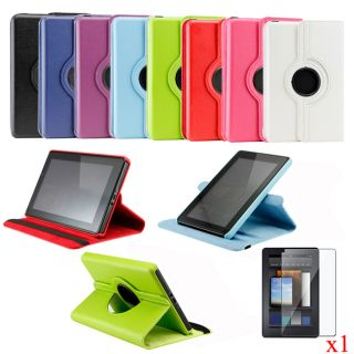 360 Degree Rotating Leather Case Cover for  Kindle Fire