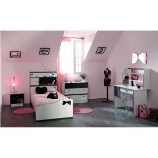 PRETTY Chambre complète 90x190 Blanc/Noir   Achat / Vente CHAMBRE