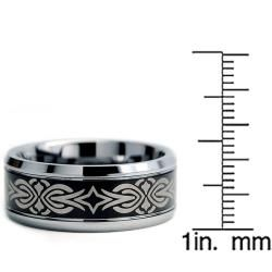 Tungsten Carbide Two tone Laser etched Tribal Ring (9 mm)