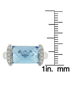 14k White Gold Blue Topaz/ 1/10ct TDW Diamond Ring
