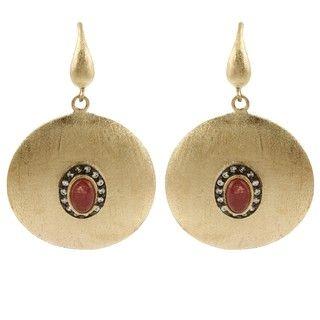 Rivka Friedman 18k Gold Overlay Esha Red Quartzite Earrings