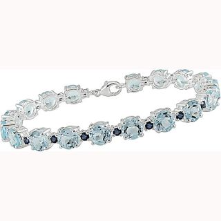 Sterling Silver Topaz and Sapphire Bracelet (Set of 4)