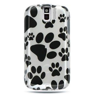 VMG Black Dog Paw Print Design Hard 2 Pc Plastic Snap On