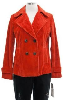 Anne Klein Persimmon Corduroy Pea Coat Jacket 16 Clothing
