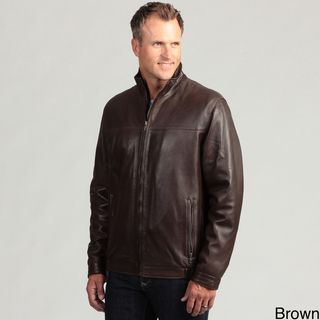 Izod Mens Lambskin Leather Stand Collar Jacket