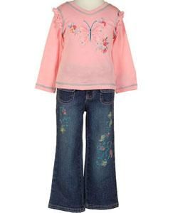 Flapdoodles Girls Powder Pink Butterfly Pant Set