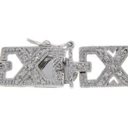 Sterling Silver 1/2ct TDW Diamond Framed X Link Bracelet (I J, I2 I3