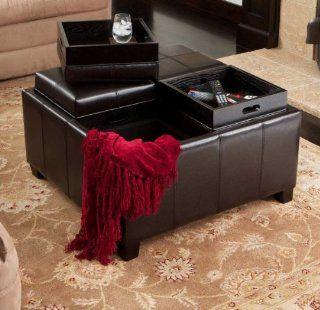 Mason Leather Tray Top Storage Ottoman (Espresso) (18.75H