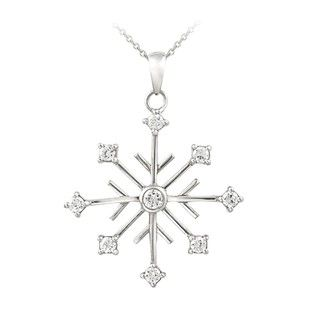 Icz Stonez Sterling Silver CZ Snowflake Pendant