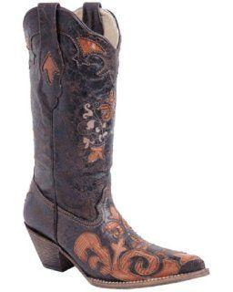 Womens Ladies Cognac Vintage Lizard Overlay Boot   C2107 Shoes