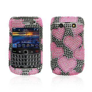 Hot Pink Heart BlackBerry Onyx 9700 Rhinestone Case