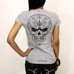 1979 Collection Womens Graphic Sugar Skull Crewneck T shirt