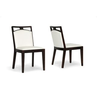 Pontus Brown Wood and Cream Leather Modern Dining Chair (Set of 2