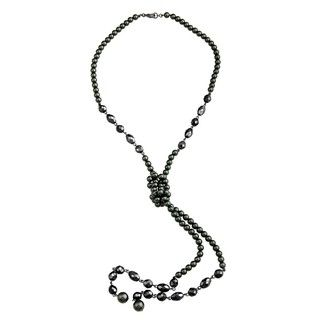 Ralph Lauren Miramar Black Faux Pearl Knot Necklace