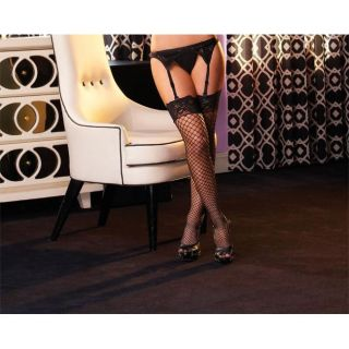 Emaje Industrial Net Black Lace Top Thigh High Stockings (Pack of 2