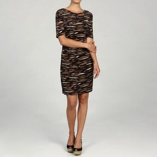Connected Apparel Womens 3/4 Sleeve Printed Dress