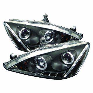 Honda Accord 03 07 Halo LED Projector Headlights   Black :