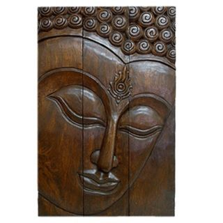 Large Acacia Wood Three Panel Buddha Face (Thailand) Today $134.99 4