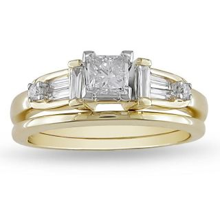 14k Two tone Gold 5/8ct TDW Diamond Bridal Ring Set (G H, I1 I2