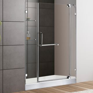 48 inch Frameless Shower Door 0.375 inch Clear Glass With White Base