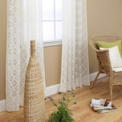 Ivory Lace 84 inch Curtain Panel Pair