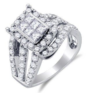 14K White Gold Large Diamond Halo Crossover Engagement OR